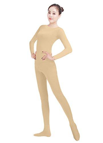 Ensnovo Womens Lycra Spandex One Piece Unitard Full Bodysuit Zentai Suit Costume Nude XL