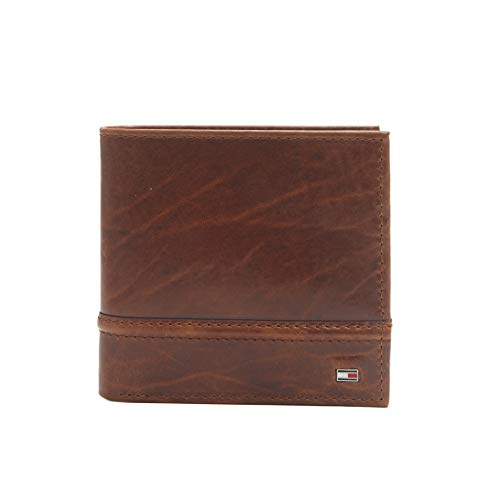 Tommy Hilfiger Men's Leather Wallet - RFID Blocking Slim Thin Bifold with Removable Card Holder and Gift Box, Tan Brevin (Best Slim Wallet 2019)