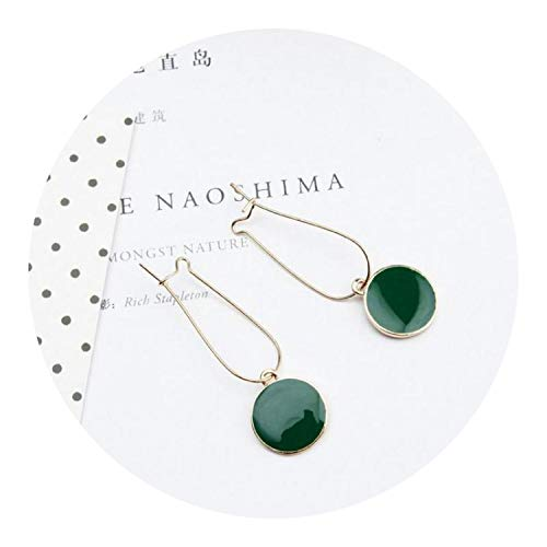 Hot Rectangle Magnet - Hot Simple Green Circle Small Fresh Girl Earrings Female Character Good Quality Pendant Earrings,green