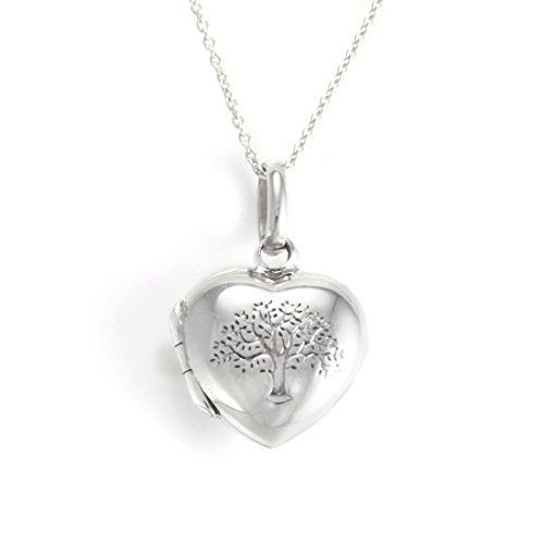 Silverly Womens .925 Sterling Silver Tree of Life Heart Locket Chain Necklace, 46 cm