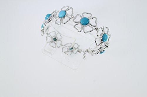 Bracelet en Turquoise B 174-01 - Bijoux en argent rhodié et Turquoise - Diverses pierres possible - ARTIPOL