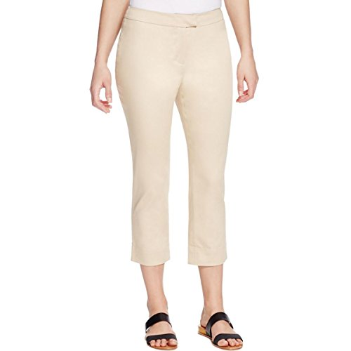- Finity Womens Poplin Flat Front Cropped Pants Tan 6