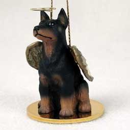 (Doberman Pinscher Angel Dog Ornament - Black & Tan)