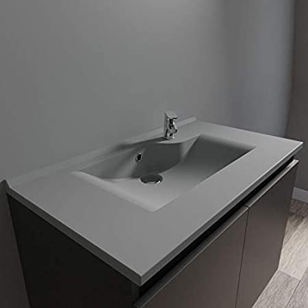 Vasque c/éramique Meuble 2 tiroirs Gris Randalsa Meuble Happy 80 cm 81 x 91 x 46 cm