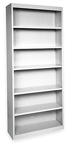 - 36' x 18' x 84' Elite Series Stationary Bookcase with 6 Shelves, Dove Gray
