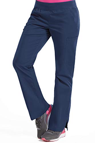 (Med Couture Signature Women's Yoga 2 Cargo Pocket Scrub Pant, New Navy/Spearmint, Medium Petite)