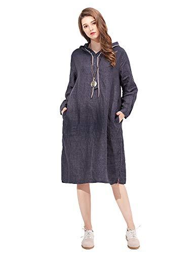 Loose Masee Linen Style Oriental Cotton darkgrey Maxi pieces Women's Folk Beauty X2 Painting Veni Irregular Dress Casual 2 fxS6nqn