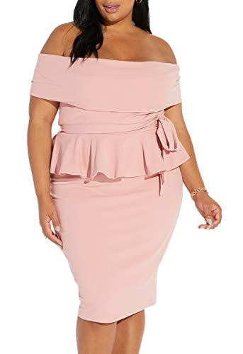 (Yskkt Womens Plus Size Peplum Midi Dresses Sexy Off The Shoulder Short Sleeve Ruffle Bodycon Party Pencil Dress)