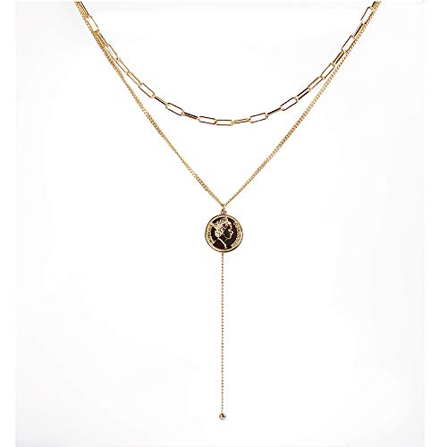 (Eveyazi Coin Pendant Necklace with Long Chain Alloy Gold Layered Choker Y Necklace for Women and)