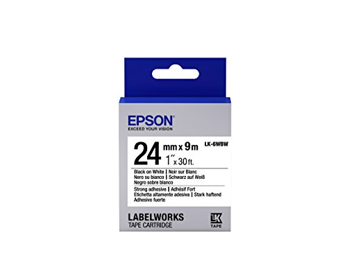 "Epson LabelWorks Strong Adhesive LK (Replaces LC) Tape Cartridge ~1"" Black on White (LK-6WBW) - For use with LabelWork LW-600P and LW-700 label printers"