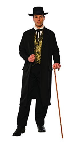 Western Outlaw Costume (Pizazz! Men's Adult Swindler Costume, Black/White/Gold,)