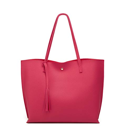 Women's Soft Leather Tote Shoulder Bag from Dreubea, Big Capacity Tassel Handbag Red 2 -