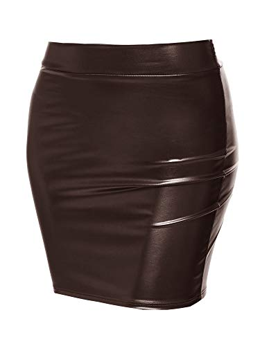 Sexy Casual Faux Leather Fitted Mini Pencil Skirt - Made in USA Dark Brown S