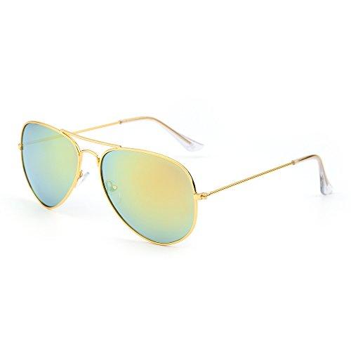 Flash Mirror Sunglasses (Retro Mirror Aviator Sunglasses Flash Tinted Lens Eyeglasses for Women Men UV400 (Gold/Yellow))