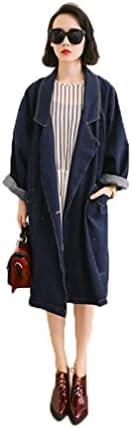 [No Brand Goods] Spring Denim Coat, Spring Coat, Long Length, Trench Coat, Denim Jacket, Women's Denim Shirt, Long Sleeve, Damaged Finish, Denim Trench Coat, Large Size, Denim Coat, G Jacket, Trench Coat