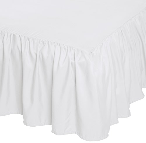 AmazonBasics Ruffled Bed Skirt, 16 Inch Skirt Length, Queen, Bright White