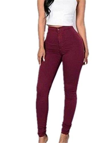 Sky Mujeres Denim Jeans Chica Casual Pantalones Vaqueros Cintura los Pantalones del lápiz del Estiramiento (S, Rojo)
