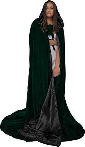Artemisia Designs Velvet Hooded Renaissance Cloak Medieval Cape Lined with Satin Men and Women