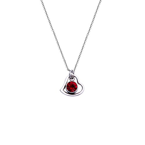 DYbaby Lovely Birthday Gift-Tiny Heart Circle and Birthstone Necklace Stainless Steel Heart and Crystal Pendants Necklace for Her (07 July)