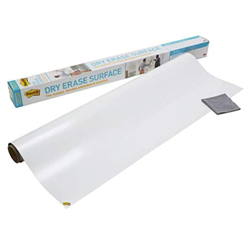 Post-it Dry Erase Whiteboard Film Surface for Walls, Doors, Tables, Chalkboards, Whiteboards, and More, Removable, Super Sticky, Stain-Proof, Easy Installation, 3 ft x 2 ft Roll (DEF3X2A) (Erase Squares Dry)