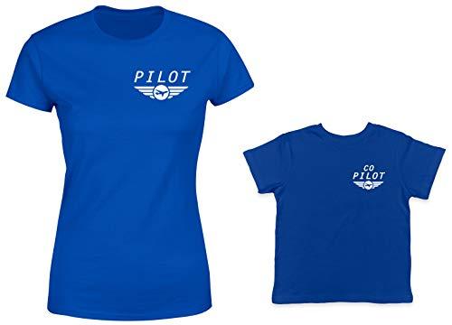 Pilot/Co-Pilot 2-Pack Toddler & Ladies T-Shirt (Royal/Royal, X-Large/4T)