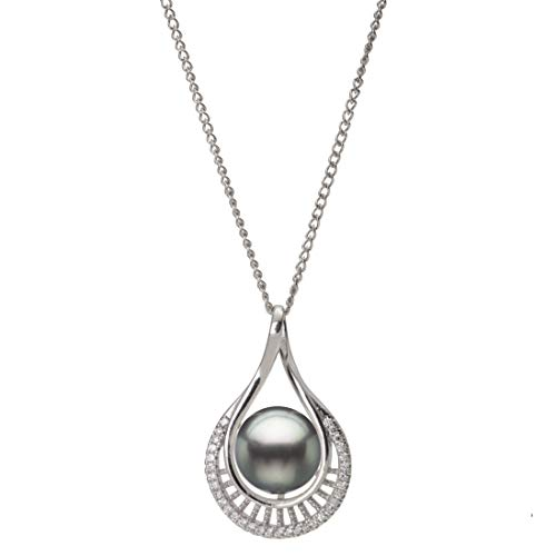 Sterling Silver Pear Shaped Fan Pendant with Tahitian Cultured Pearl and White Sapphires