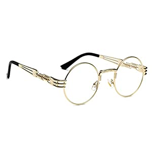 WebDeals - Round Circle Vintage Metal Sunglasses Eyeglasses Bold Design Decorated Frame and Nose Piece (Gold, Clear)