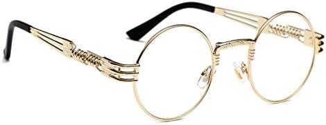 WebDeals - Round Circle Metal Sunglasses Vintage Steampunk Bold Frame Design