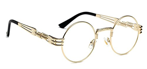 WebDeals - Round Circle Vintage Metal Sunglasses Eyeglasses Bold Design Decorated Frame and Nose Piece (Gold, - Vintage Gold Glasses