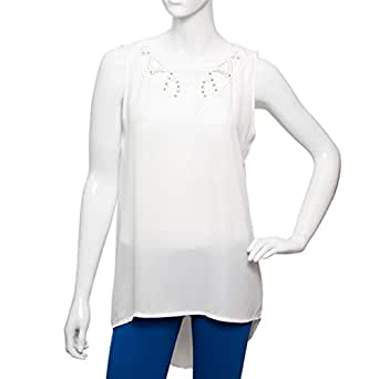 Parkhande White Mixed Round Neck Blouse For Women
