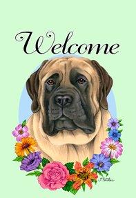 Mastiff - Tomoyo Pitcher Welcome Flowers Garden Flag