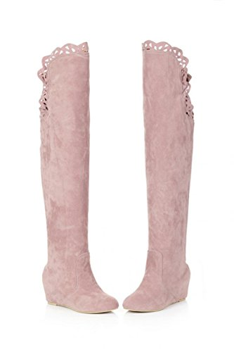 femme bottes - SODIAL(R)femme mode dentelle elastique bottes rose 37