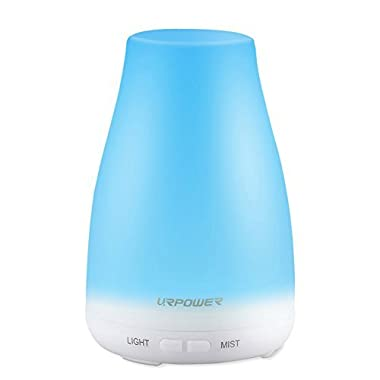 Urpower Aroma Essential Oil Cool Mist Humidifier with Adjustable Mist Mode, Waterless Auto Shut-off and 7 Color LED Lights, 100ml