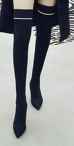 Bottes Aiguille Talon Noir Elastique Souple Cuissardes Aisun Haute Tige Femme U8qBpUaZ