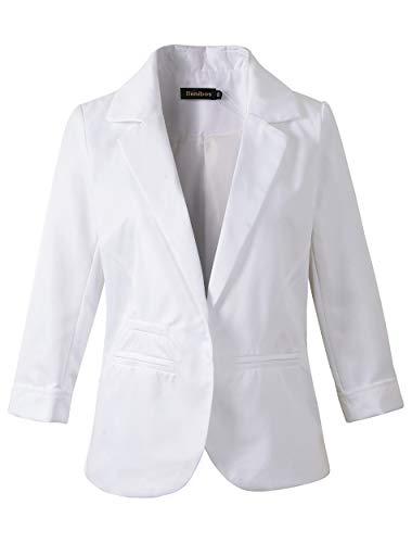 Women's Boyfriend Blazer Tailored Suit Coat Jacket (S, 503White) -