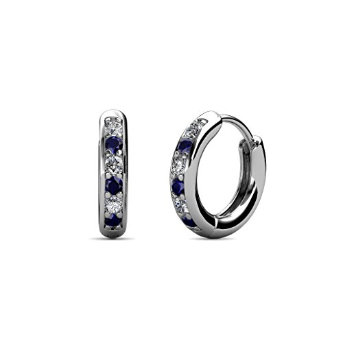 Petite Blue Sapphire and Diamond (SI2-I1, G-H) Huggies Hoop Earrings 0.25 Carat tw in 14K White (0.25 Ct Tw Hoop)