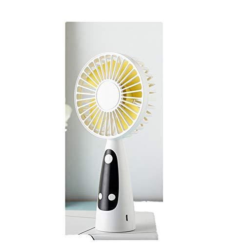 WYFDM Ventilador USB portatil, Mini Ventilador Portable al Aire Libre Ventilador Personal Puede Mostrar el Tiempo para Personalizar la funcion de Alarma Ventilador de Escritorio de enfriamiento,White