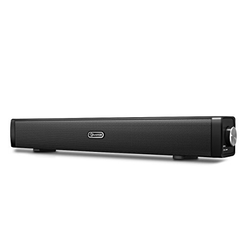 USB Computer Speakers, EIVOTOR Wired Computer Sound Bar, Stereo USB Powered Mini Soundbar Speaker for PC Cellphone Tablets Desktop Laptop TV (Black) (Sound Bar For Laptop)