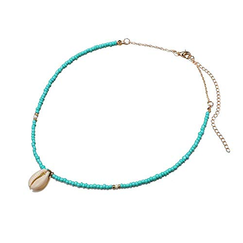 (JczR.Y Bohemian Conch Shell Necklace Choker Natural Turquoise Bead Shell Short Necklace Pendant for Women Girls Sea Beach Fashion Jewelry(Gold))