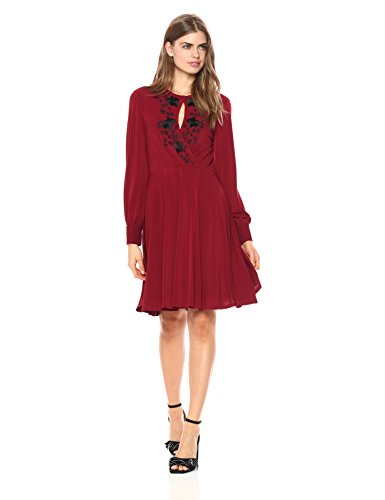Wild Meadow Women's Embroidered Draped Jersey Glamour Dress XS Burgundy