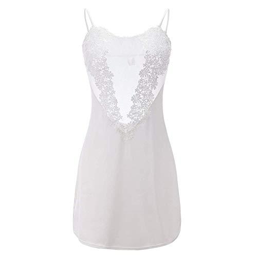 Easy use Summer Women's Sleepwear Female Sheer Nightgown Lace Dress Rayon Nightdress Negligee Dress Gown Sexy Lingerie JF001,Medium,White]()
