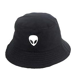 Drawihi Alien Embroidery Fisherman Hat Hip Hop Street Dance Pot Cap Bucket Hat Unisex