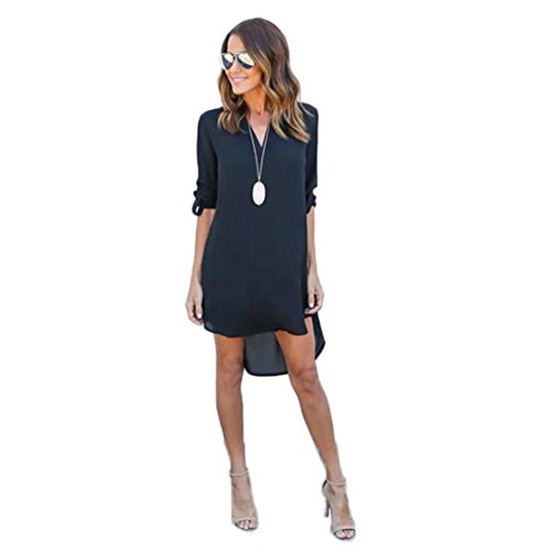 Long Blouse Dress and Navy Chiffon 4 Dress T Causal 3 Luca Party Sleeve Mini Ladies Tops Loose Women Shirt Long Solid R0xt5w