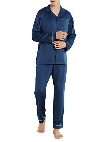 David Archy Men's Satin Silky Sleepwear Pajamas Set Button-Down Long Loungewear (S, Navy Blue)]()