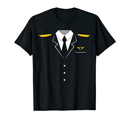 Airplane Pilot Uniform T-Shirt   Halloween Captain Shirt