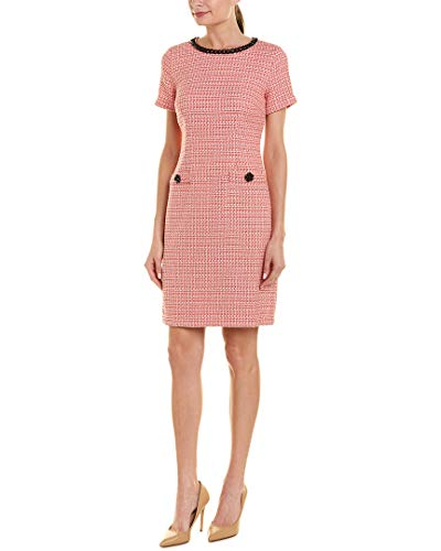 (Karl Lagerfeld Paris Women's SHORT SLEEVE TWEED SHIFT, Cherry, 16)