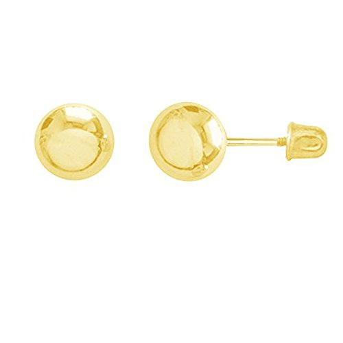 14k Yellow Gold Ball Stud Post Earrings 3,4,5,6,7mm with Screw Backs (5 - Studs Posts Ball