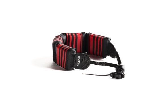 Olympus 202589 Fashion Float Strap for Camera (Black with Red Stripes)