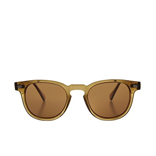 Translucent Amber James Dean Style Horn Rim Sunglasses with Brown Lens - - Benson Sunglasses