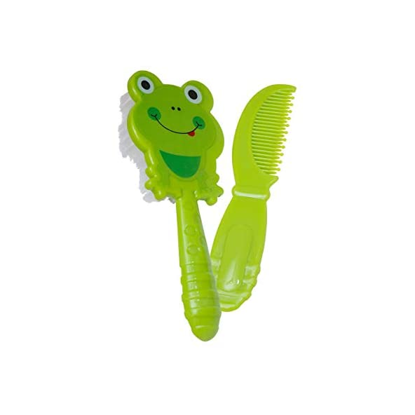 Beebaby Soft Brush and Comb Set for Newborn Babies Frog Shape (Green)